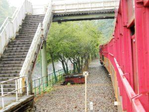 トロッコ保津峡駅と列車全景